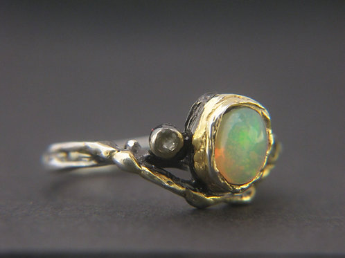 Opal and tourmaline ring