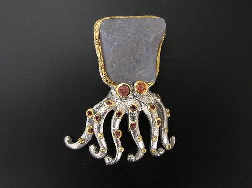 Octopus Brooch, Chalcedony +Sapphires.