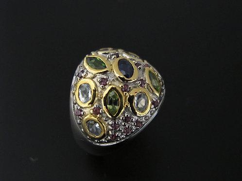 Ring, Peridot,Sapphire & Cz