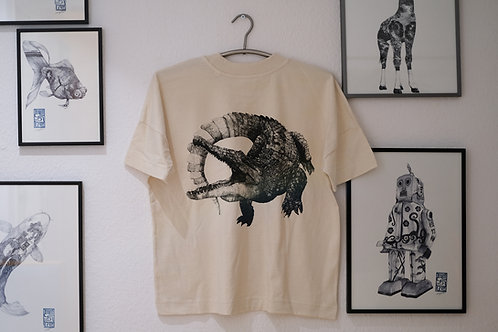 Crocodile Back print [鰐・背面プリント]T-Shirt Natural Raw