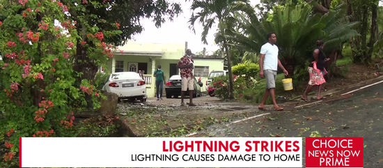 LIGHTNING CAUSES DAMAGE TO HOME