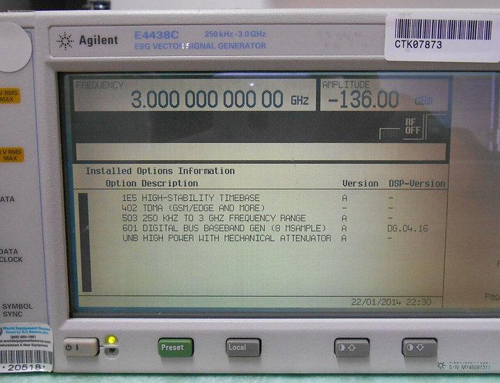 Agilent E4438C OPTIONS 503/1E5/402/ 601/UNB