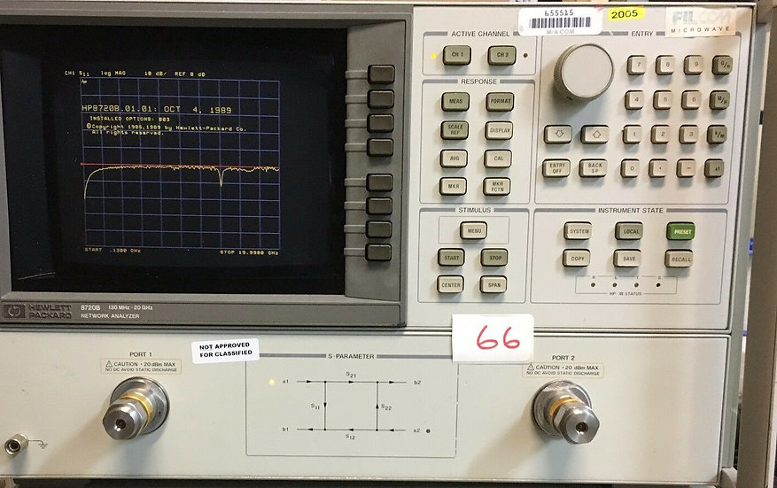 Agilent / HP 8720B  Network Analyzer 130 MHz to 20 GHz W 001,003,010