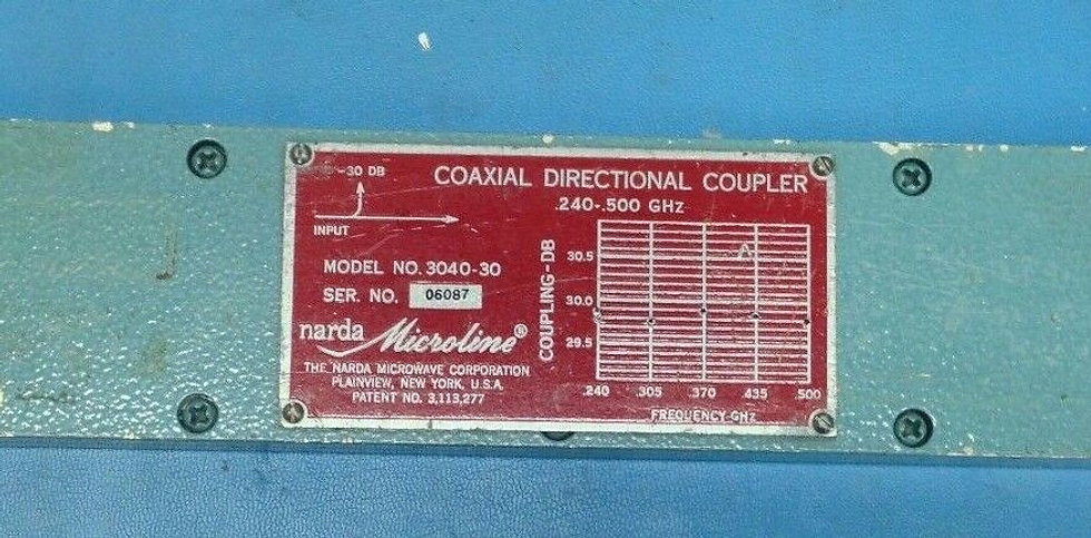 Narda Microline 3040-30 .240-.500GHz Coaxial Directional Coupler