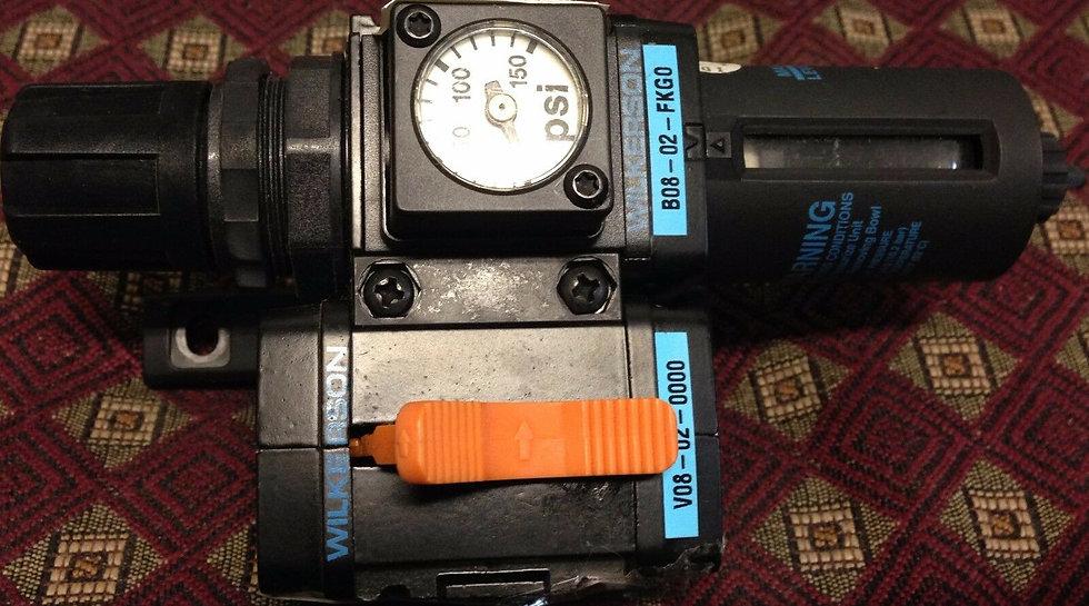 Wilkerson B08-02-FKG0 Regulator V08-02-0000 Lockout-Valve USED Sold As is