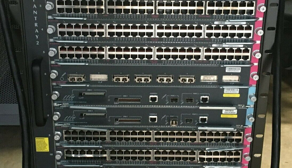 Cisco Catalyst 6513 With Cards attached and Cables details in photos.