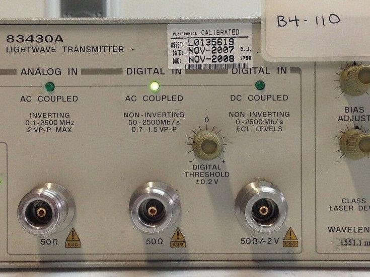 HP Agilent 83430A Lightwave Transmitter 1551.1 nm OPT 8ZE