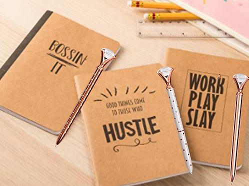 Boss'n Mini Notebooks & Diamond Pen Set