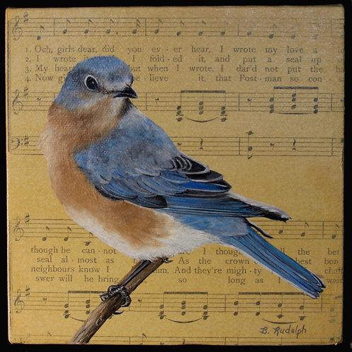 Bluebird on Vintage Music Sheet by Barbara Rudolph