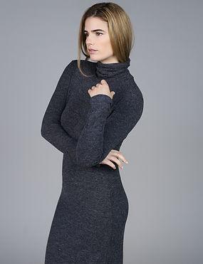 Model in Turtleneck Dress