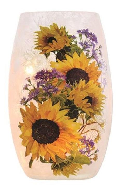 """Sunflower Lighted Glass Vase 7"""""""