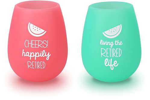 Happily Retired - 13 oz Silicone Wine Glasses (Set of 2)