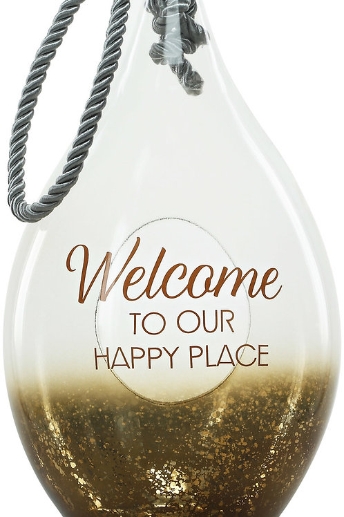 "Welcome - 15.5"" Bronze Glass Lantern"