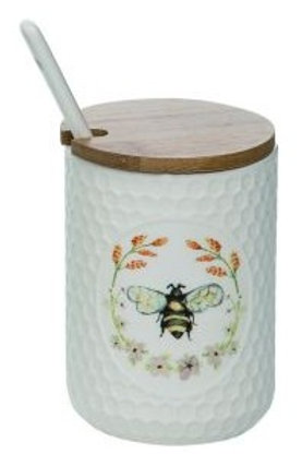 Honey Bee Condiment Jar W/Lid & Spoon 3 x 3 x 4.5 in.