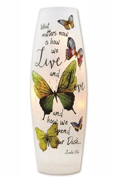 """Live Love Butterfly Lighted Glass Vase 12"""""""