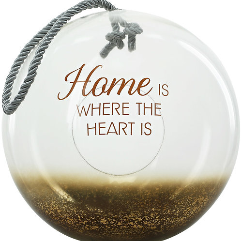 "Home - 11.5"" Bronze Glass Lantern"