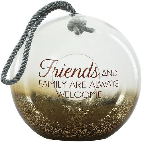"Friends & Family - 9.5"" Bronze Glass Lantern"