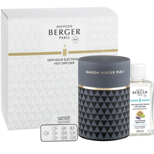 Lampe Berger Clarity Grey Fresh Wood Mist Diffuser Set