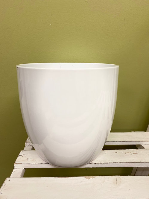 "6"" Oval White Glaze Ceramic Pot"