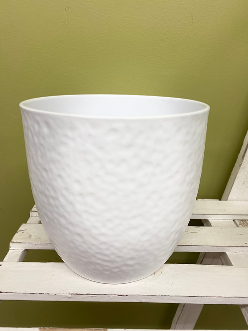 "6"" Ripple White Ceramic Pot"