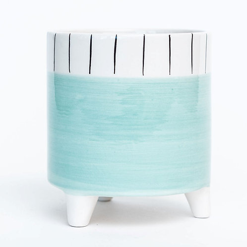 "4.7""DX4.7""H Footed Aqua Dolomite Container with Striped Rim"