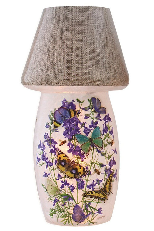 Butterflies and Purple Flowers Lighted Vase With Shade 7""
