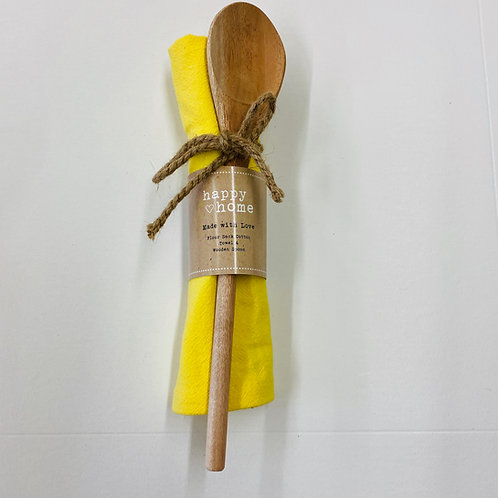 YELLOW Happy Home Dish Towel & Spoon Set