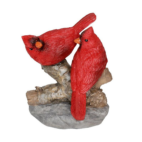 Red Cardinal Couple On Log