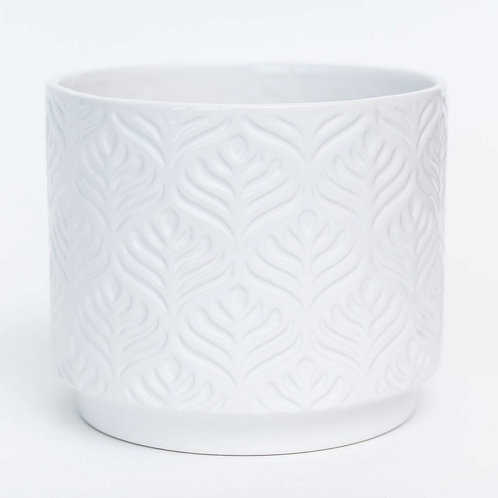 "6.7""DX5.5""H White Glazed Peacock Feather Design Dolomite Container (Fits 6"" Pot)"