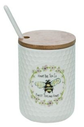 Honey Bee Condiment Jar W/Lid & Spoon 3 x 3 x 4.5 in