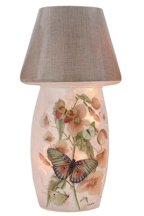"""Butterflies and Flowers Lighted Vase With Shade 7"""""""