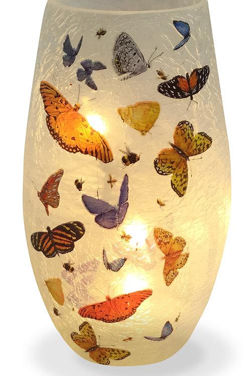 """Butterflies Lighted Glass Vase 5"""""""