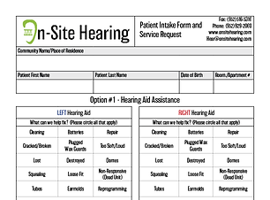 On-Site Hearing Patient Intake Form - Ge