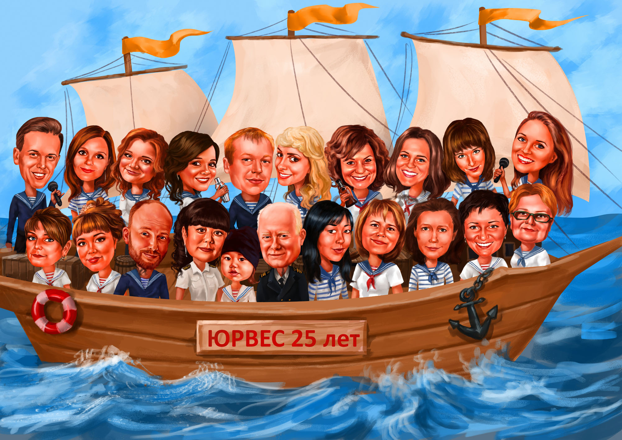 group cartoon ship