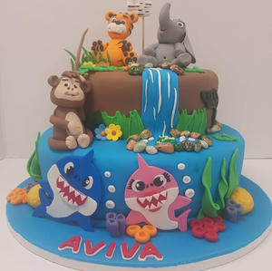Baby Shark Meets Zoo Animals Cake