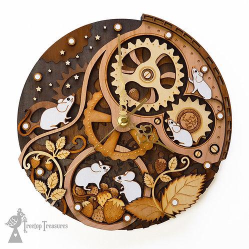 Clockwork Mice Layered Wooden Clock