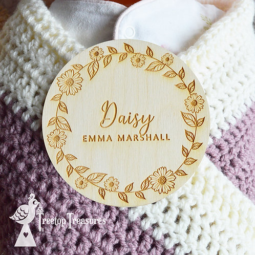 Personalised Daisy Baby Announcement Disc