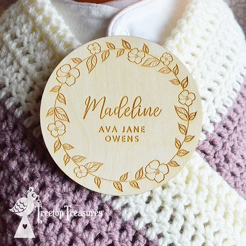 Personalised Floral Baby Announcement Disc