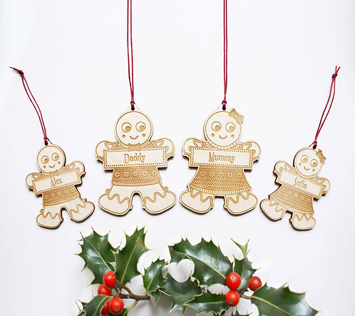 Personalised Gingerbread Family Decorations