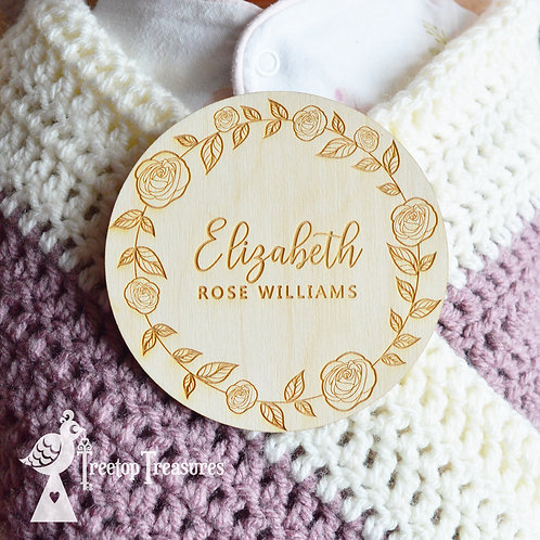 Personalised Rose Baby Announcement Disc