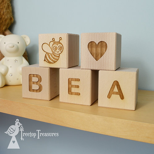 Personalised Wooden Baby Block Decorations