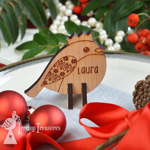 Personalised Robin Christmas Place Name