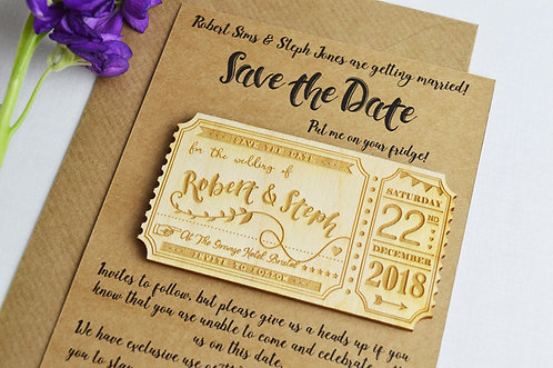 Personalised Save the Date Ticket Magnet