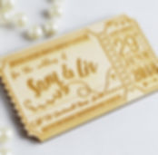 Lasercut and Engraved Save The Date Ticket Magnet