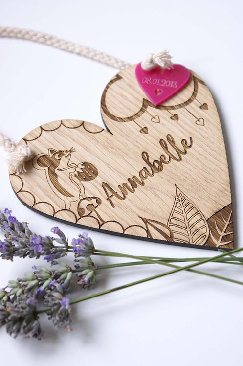 Personalised Mouse Wooden Heart Decoration