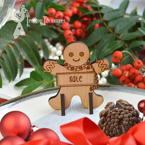 Personalised Gingerbread Man Christmas Place Name