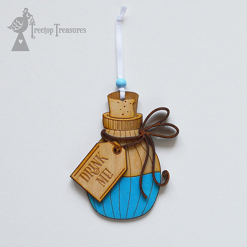 Small Drink Me Bottle, Alice in Wonderland hanging decoration