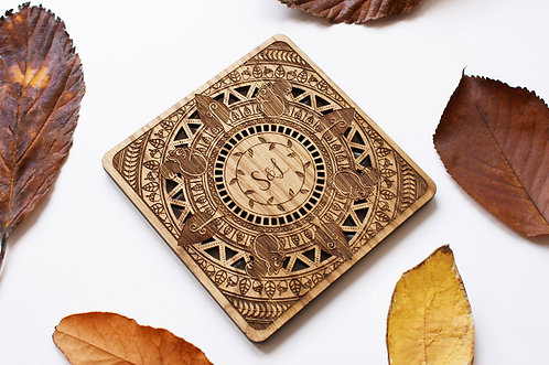 Personalised Autumn Wooden Coaster