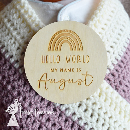Personalised Rainbow Baby Announcement Disc