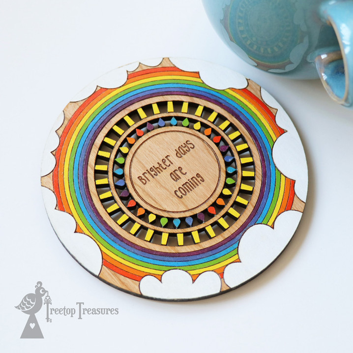 Personalised Hand-Painted Rainbow Coaster